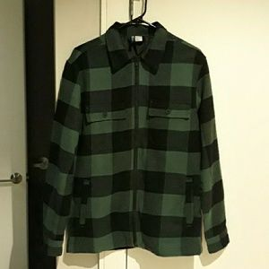 Plaid green zipup shirt